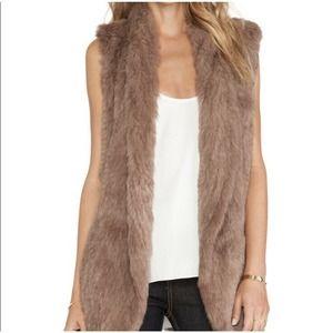 Revolve x June Genuine Rabbit Fur Vest Small